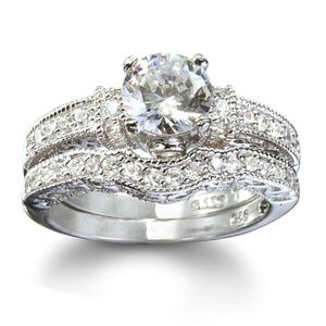 Antique Style CZ & Silver Wedding Ring Set size 6